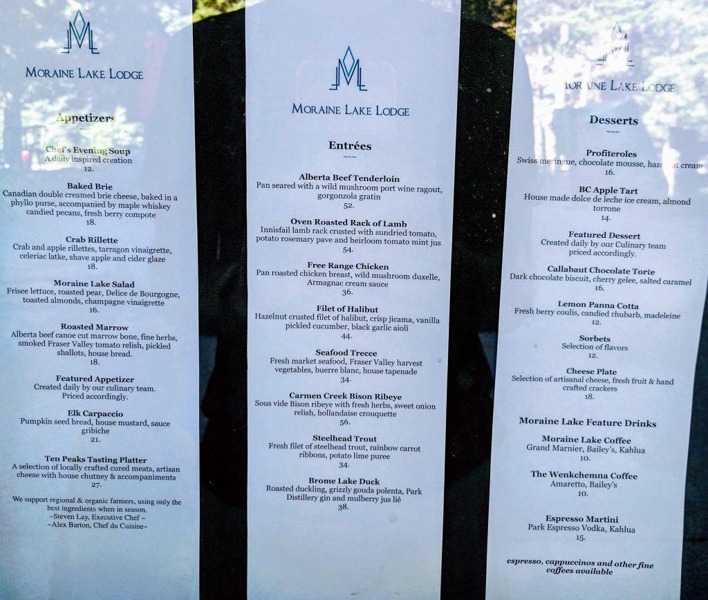 .Walter Wilcox Dining Room menu. Moraine Lake