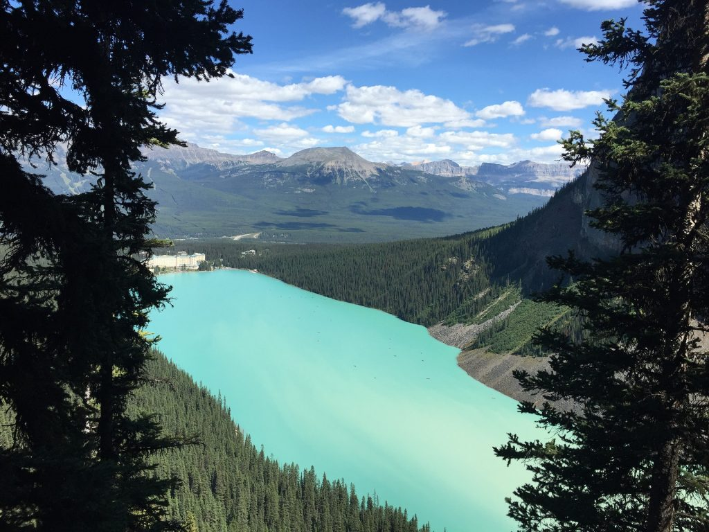 Lake Louise on a sunny day.