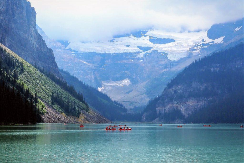 Canoeing at Lake Louise.