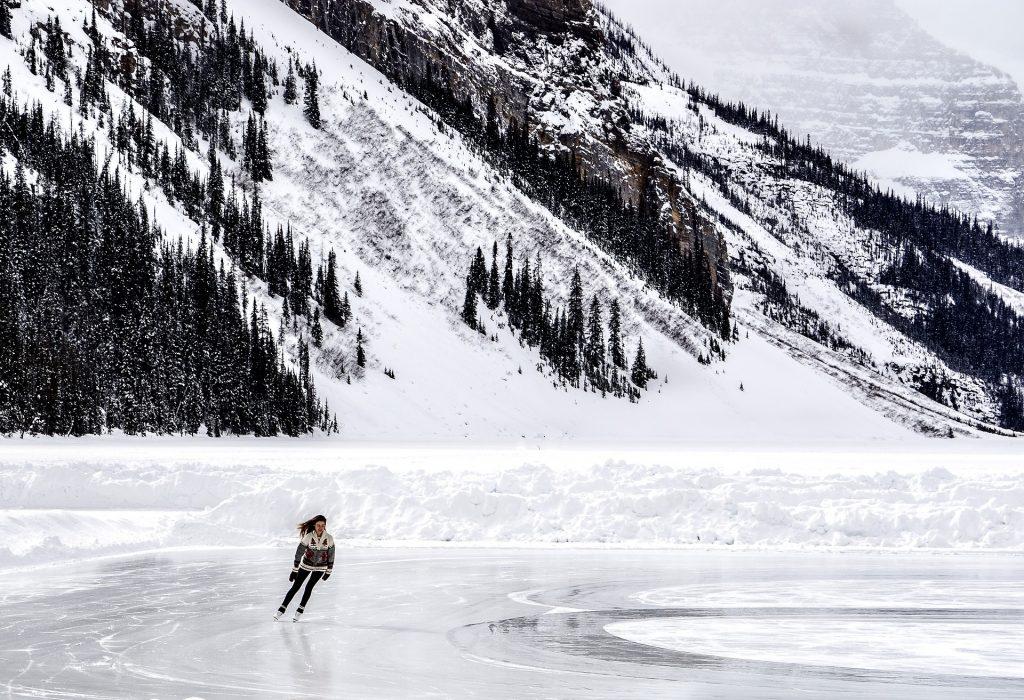Skating on Lake Louise in winter