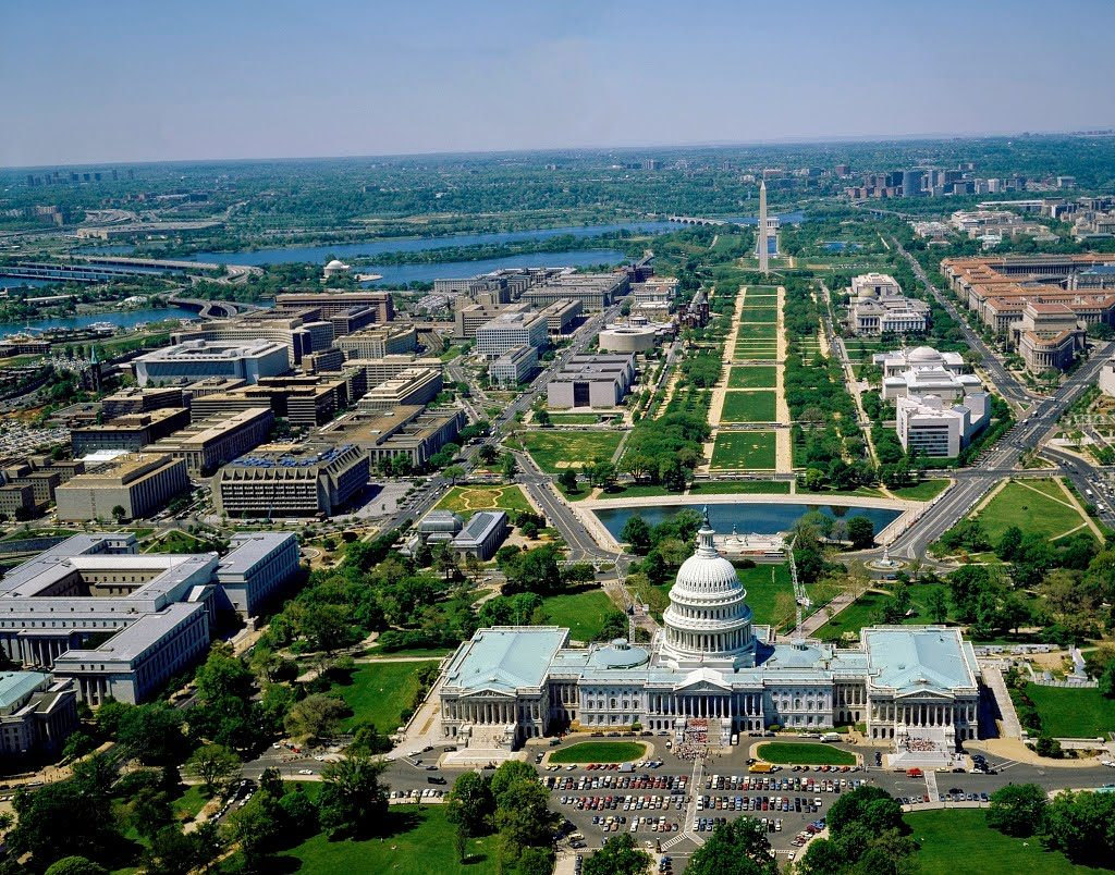 Aerial view of the Capitol and the National Mall. Washington, D.C.