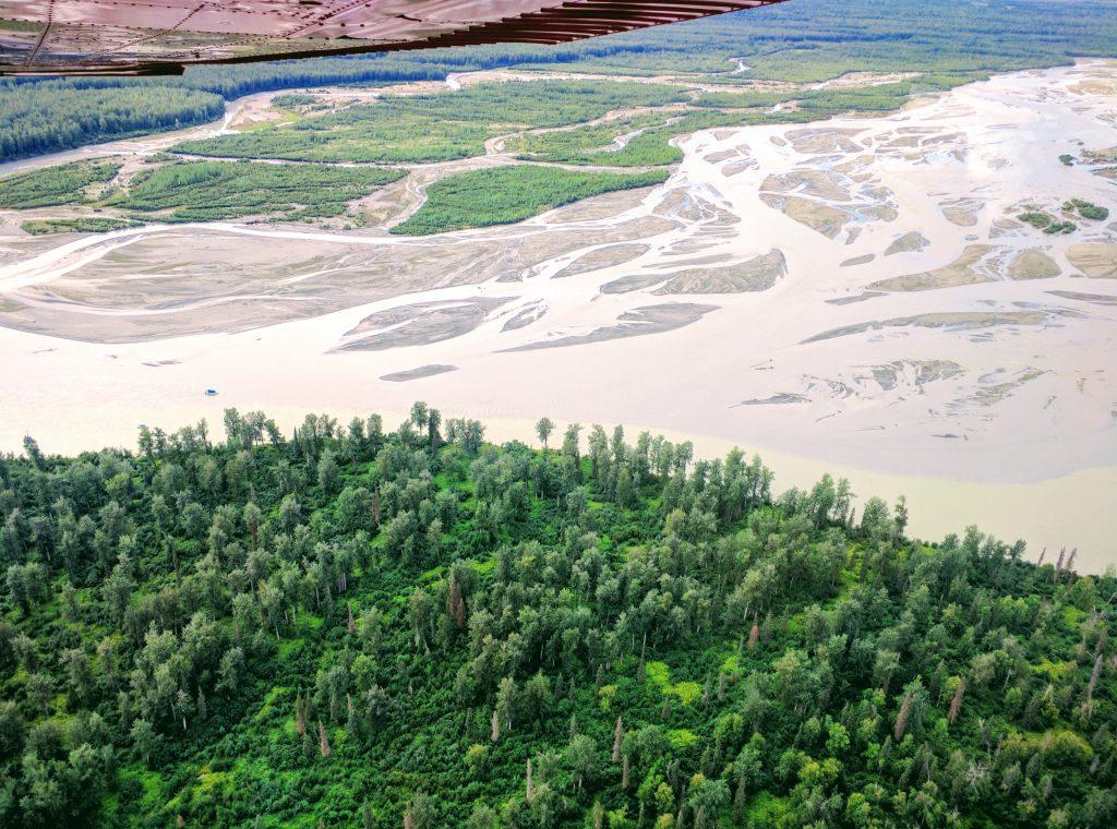 Denali National Park, view from the plane. Alaska