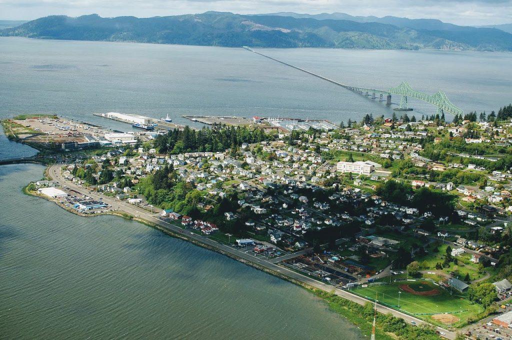 Aerial view of Astoria and Astoria–Megler Bridge.