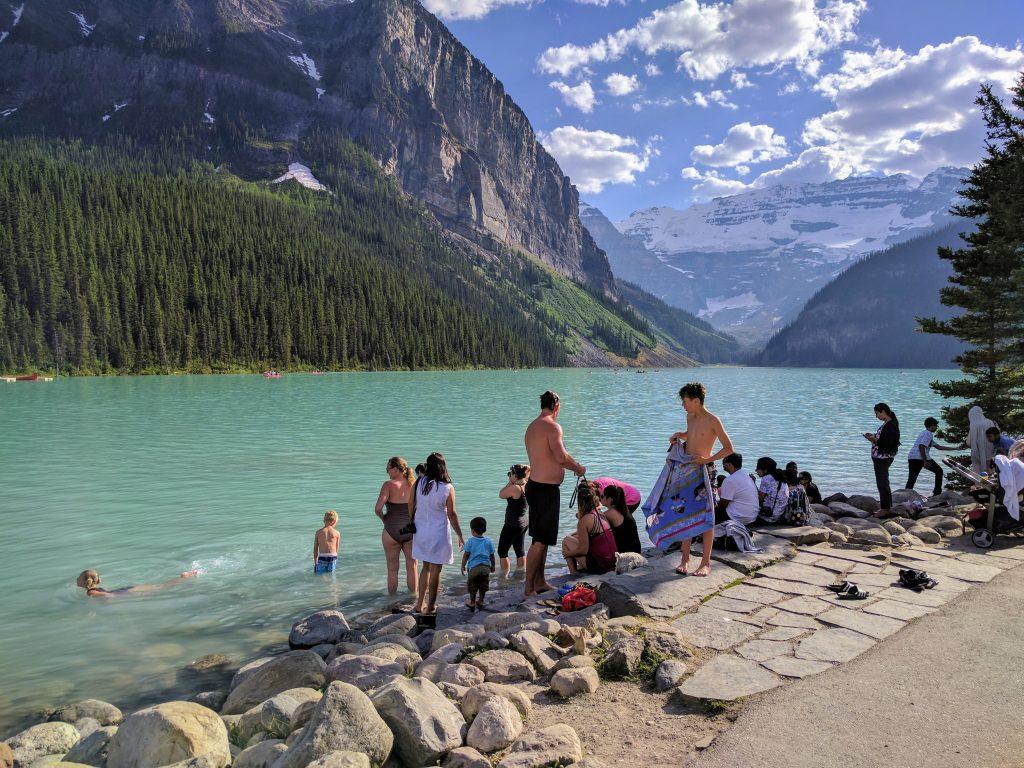 Bathing at Lake Louise. Banff National Park, Alberta