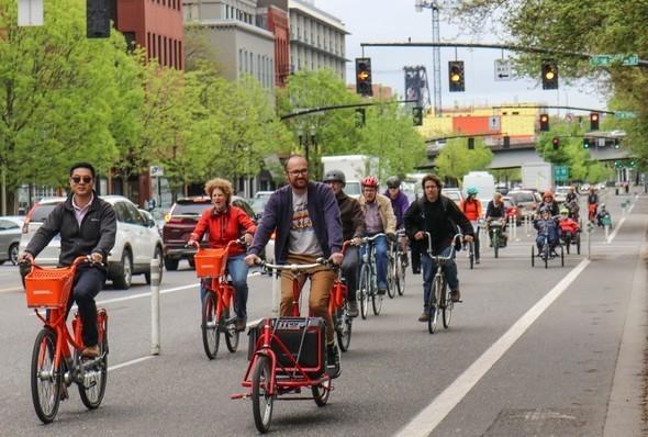 Bike traffic in Oregon