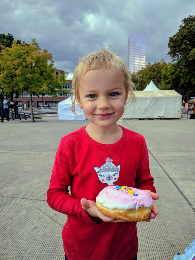 Erika with Voodoo Bubble doughnut
