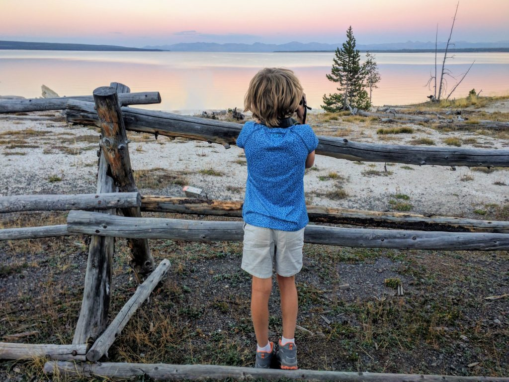 Not far from the Lake Lodge: Yellowstone Lake during sunset