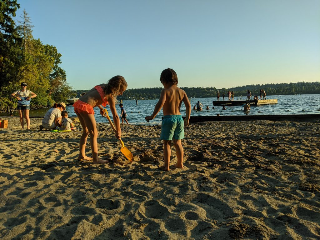 """Our favorite everyday activity during summer in Washington: """"lake time"""""""