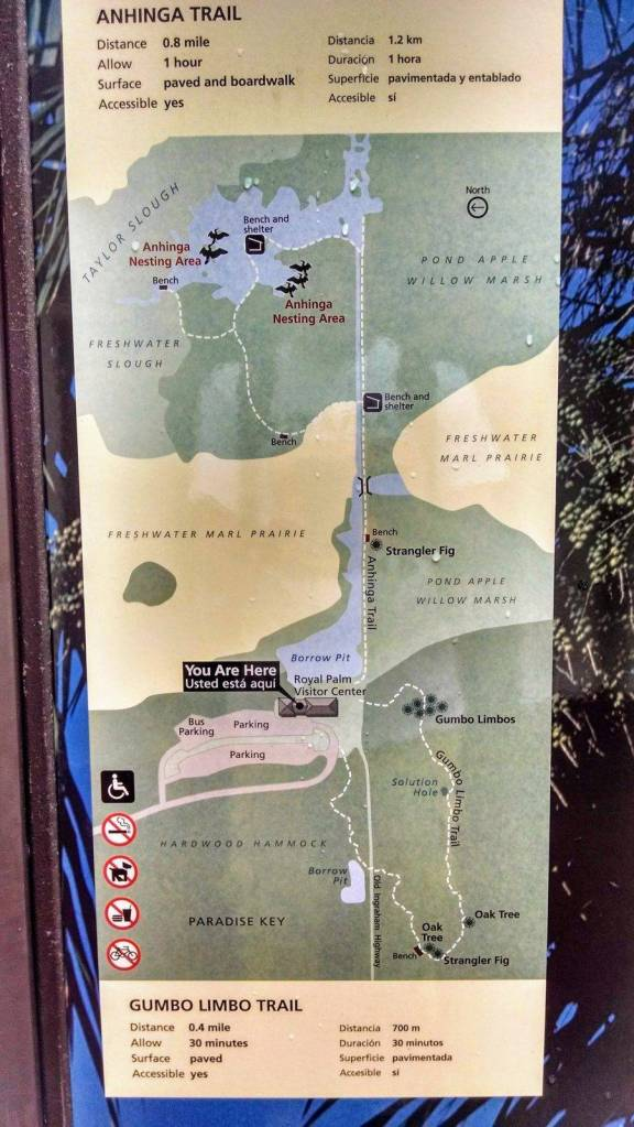 Map of Anhinga and Gumbo Limbo (short and good for birding) trails